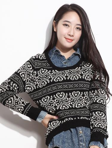 Elegant Long-sleeve Blouse 14933 (Black)
