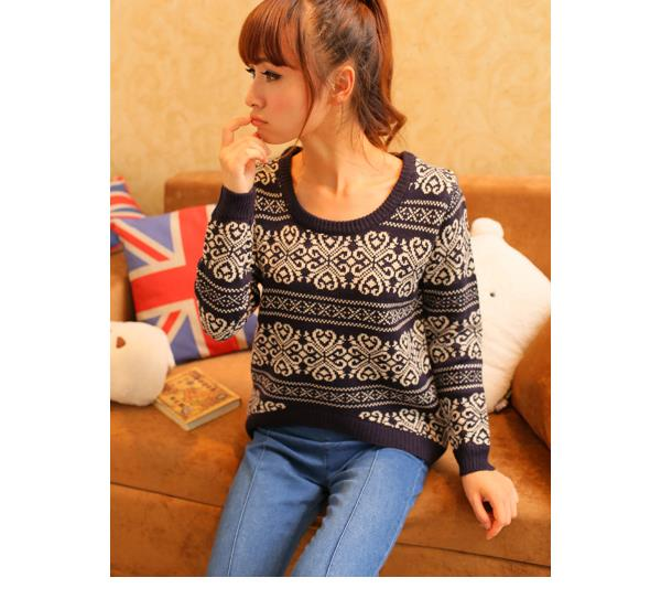 Elegant Long-sleeve Blouse 14933 (Blue)