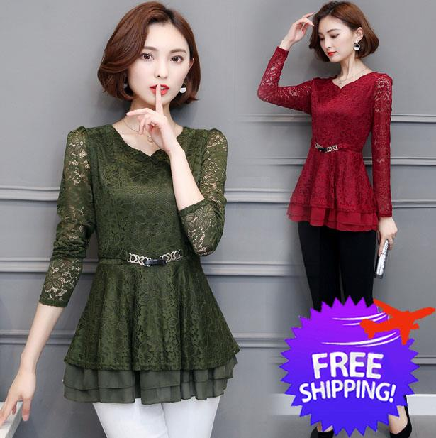 4bfb4993f8 Elegant Office Lady Design Women Lady Long Sleeve Lace Blouse Shirt