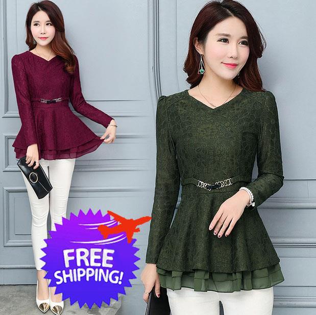 Elegant Office Wear Women Lady Long Sleeve V Neck Blouse Shirt