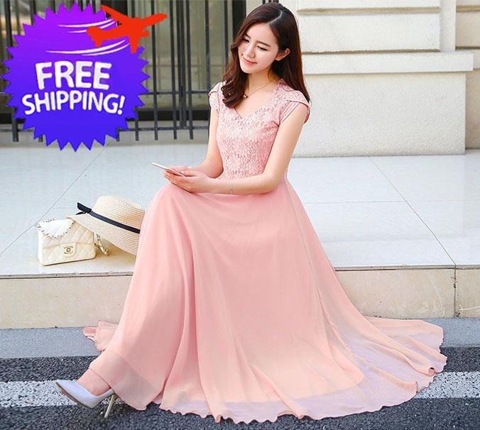 451b8b5a68faa Elegant Western Design Women Lady Chiffon Maxi Dress