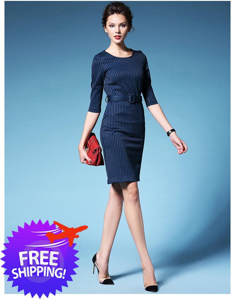 Elegant Western Fashion Women Lady Office Work Wear Knee Length Dress