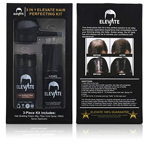 ELEVATE Hair Perfecting 3-in-1 Kit Set Includes Natural Hair Thickening Fibers