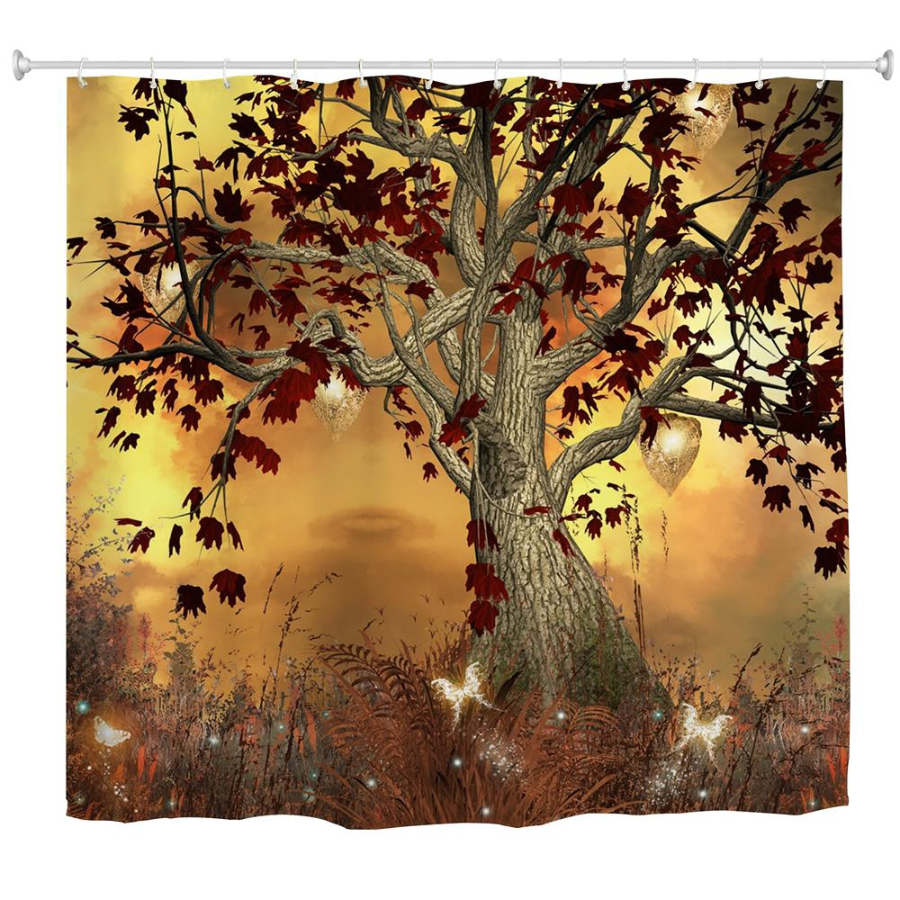 ELF TREE POLYESTER SHOWER CURTAIN BATHROOM HIGH DEFINITION 3D