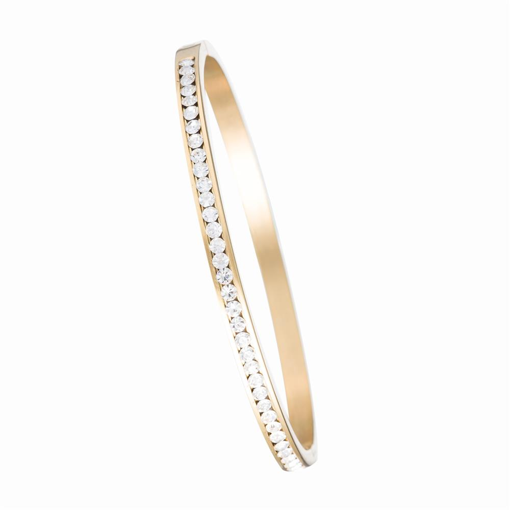 Elfi Gold Diamond Wedding Band Stainless Steel Bracelet MB03