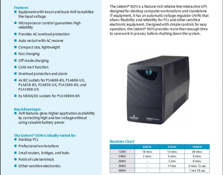 EMERSON LIEBERT PSA ITON 600VA UPS C/W Built-In AVR & Software