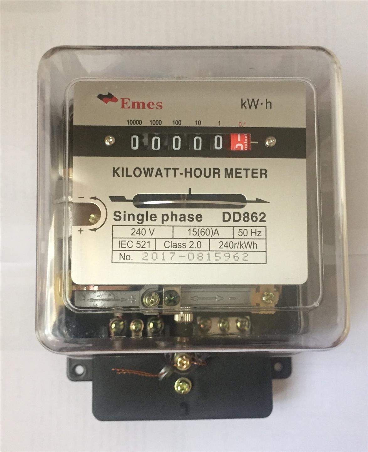 Kilowatt Meter: EMES SINGLE PHASE 15(60)A KWH METER (end 10/30/2019 6:47 PM