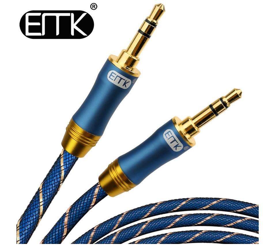 EMK 3.5 mm Gold-Plated Male to Male Aux Headphone Audio Cable 1m