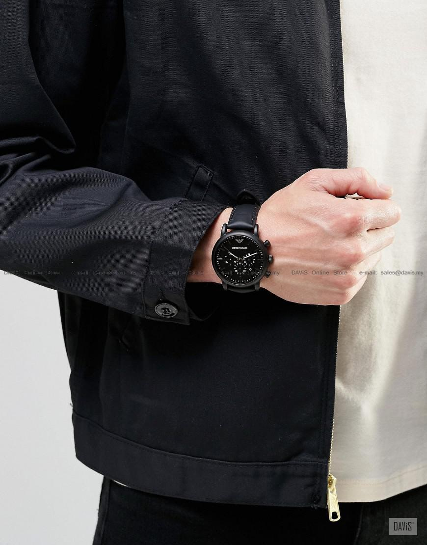Sport Ar1970 Men's Black Armani Watch Chronograph Leather Emporio 1JcFTlK