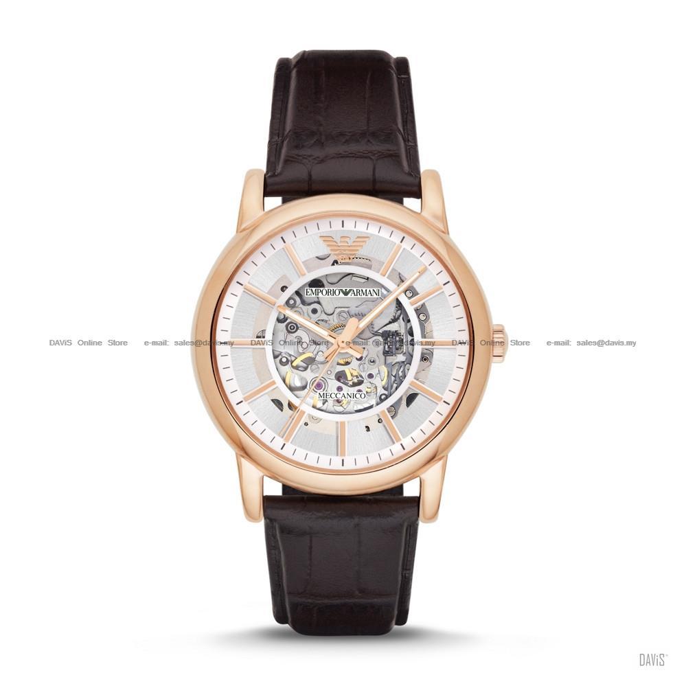 EMPORIO ARMANI AR1983 Men s Meccanico Automatic Skeleton Leather Brown. ‹ › 594e94abd9e