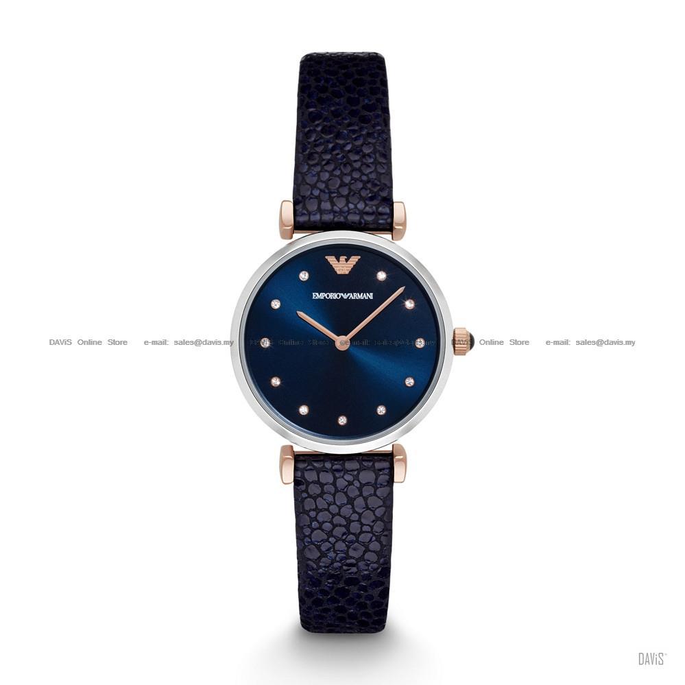 dd6b92fa6d EMPORIO ARMANI AR1989 Women's Retro Watch 2-hand Glitz Leather Blue