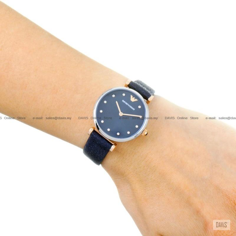 8c3858aebd EMPORIO ARMANI AR1989 Women's Retro Watch 2-hand Glitz Leather Blue