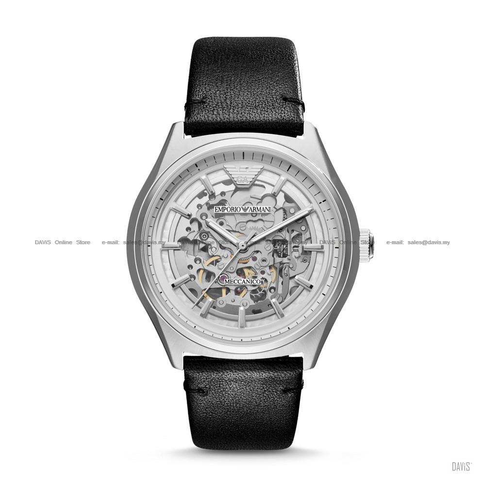 9e1d3c9f94bb5 EMPORIO ARMANI AR60003 Men Meccanico Automatic Skeleton Leather Black. ‹ ›
