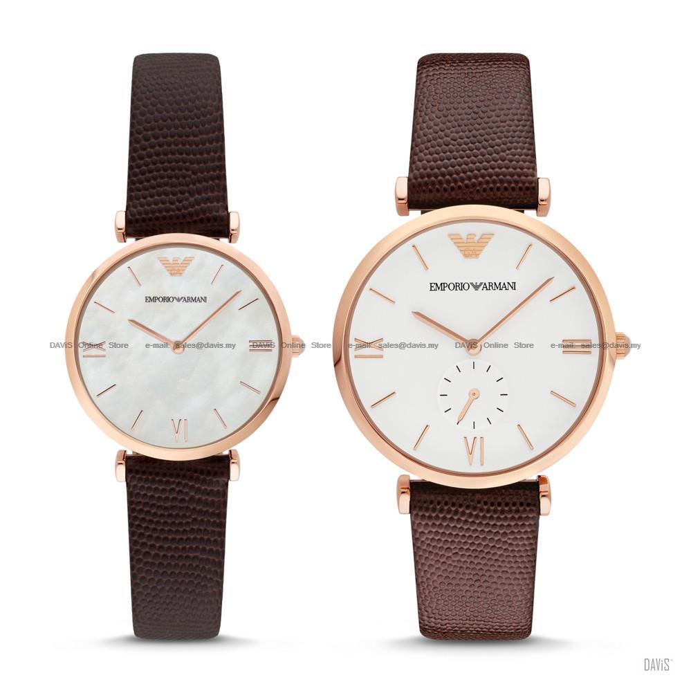 comprare in vendita scarpe da ginnastica data di rilascio EMPORIO ARMANI AR9042 Pair Lover Watch Leather Brown Gift Box Set