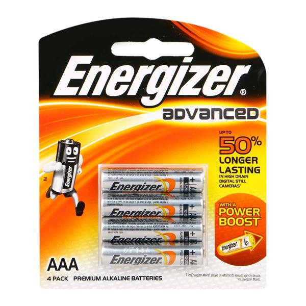 ENERGIZER BATTERY ALKALINE ADVANCED AAA 4 PCS (X92RP4)