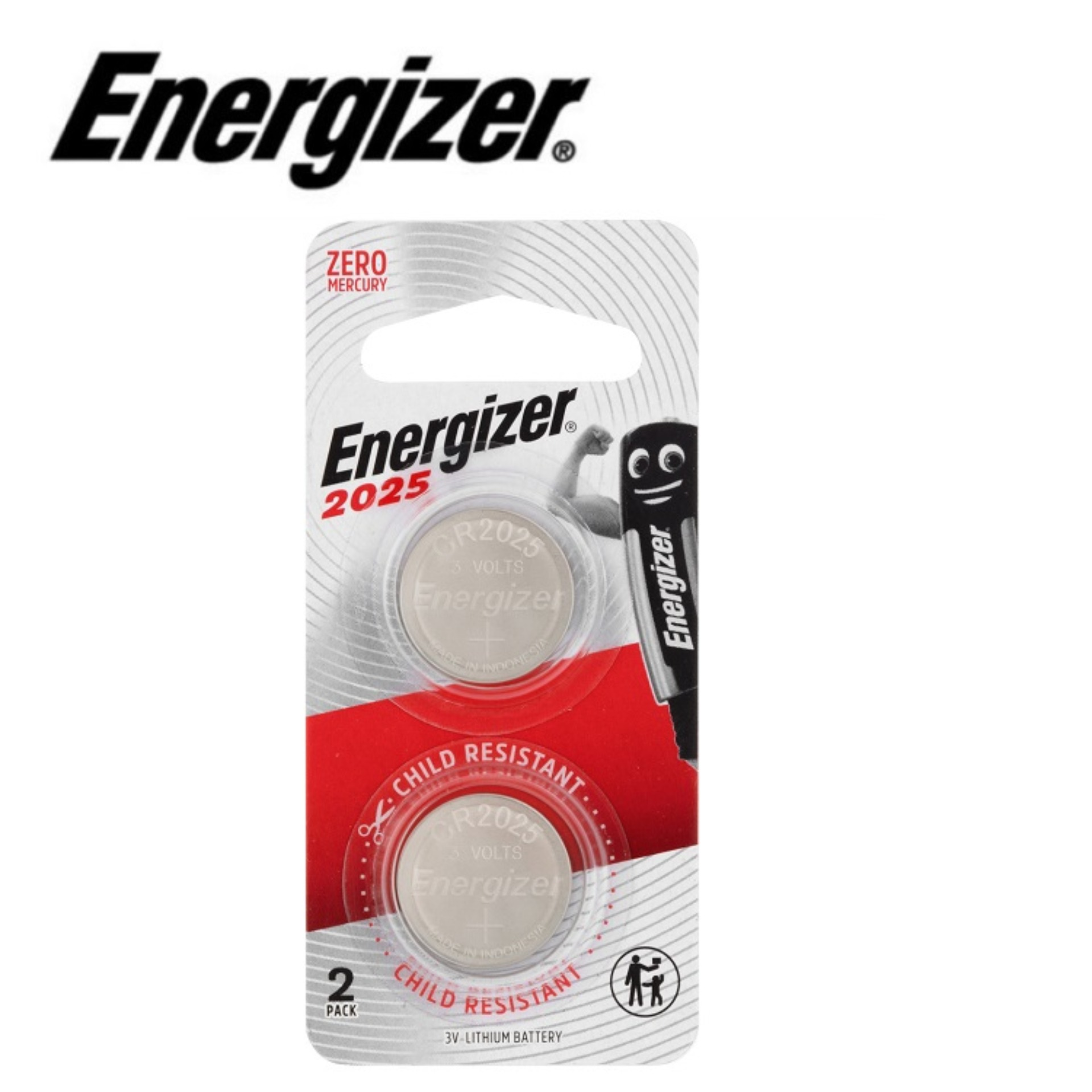 Energizer CR2025 Lithium Coin Battery (2pcs) for Car Remote