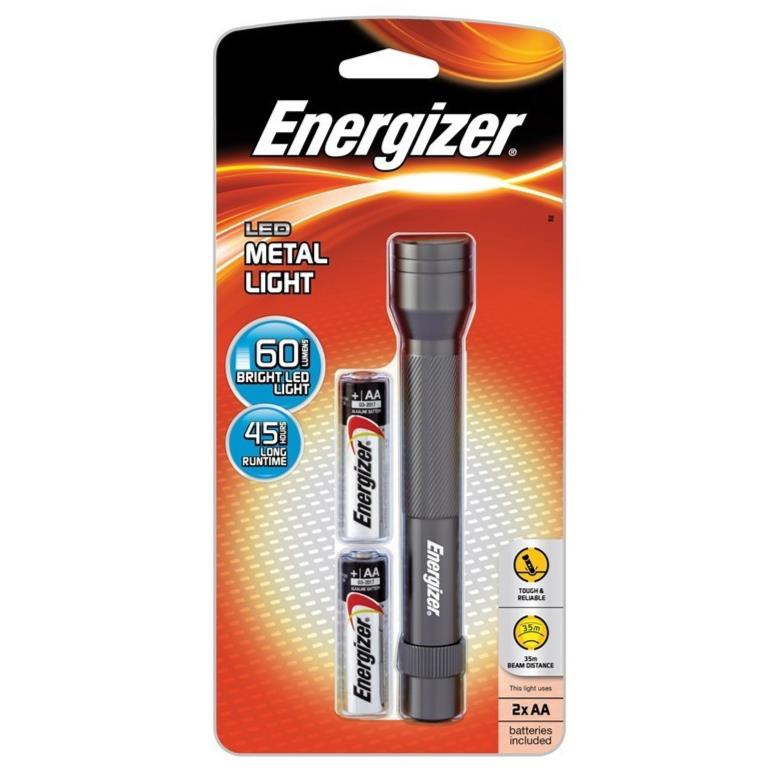 ENERGIZER LED METAL TORCH LIGHT 60 LUMENS (LCM2AA)