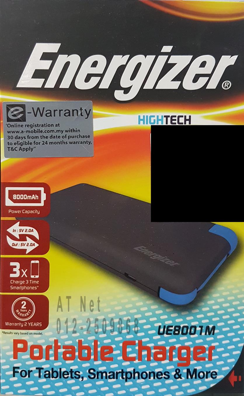 ENERGIZER PORTABLE CHARGER POWERBANK 8000MAH UE8001M