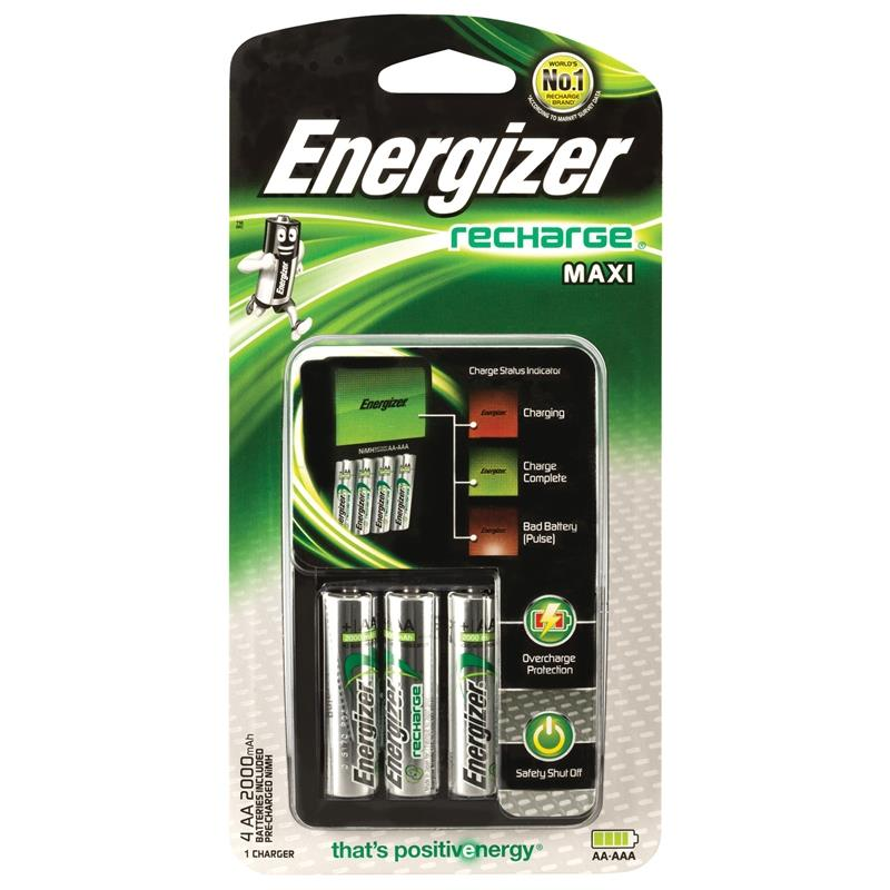 Energizer Recharge® Maxi Charger Batteries Included 4 AA 2000mAh