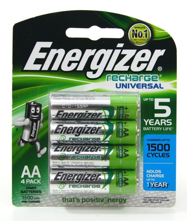 Energizer Rechargeable Universal Battery AA 4pack Batteries Set