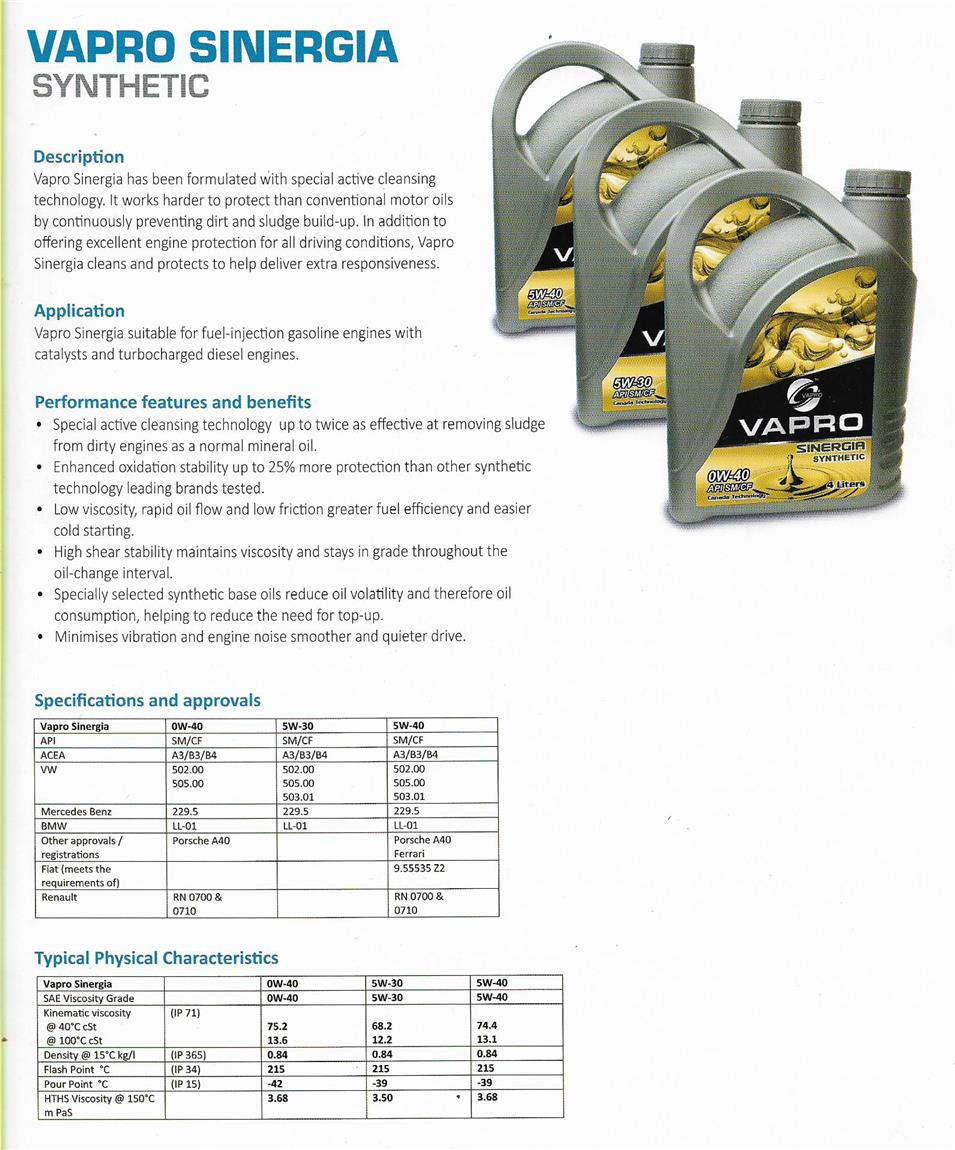 Engine Oil - VAPRO SINERGIA FULLY SYNTHETIC [4 LITRE / PER BOTTLE]