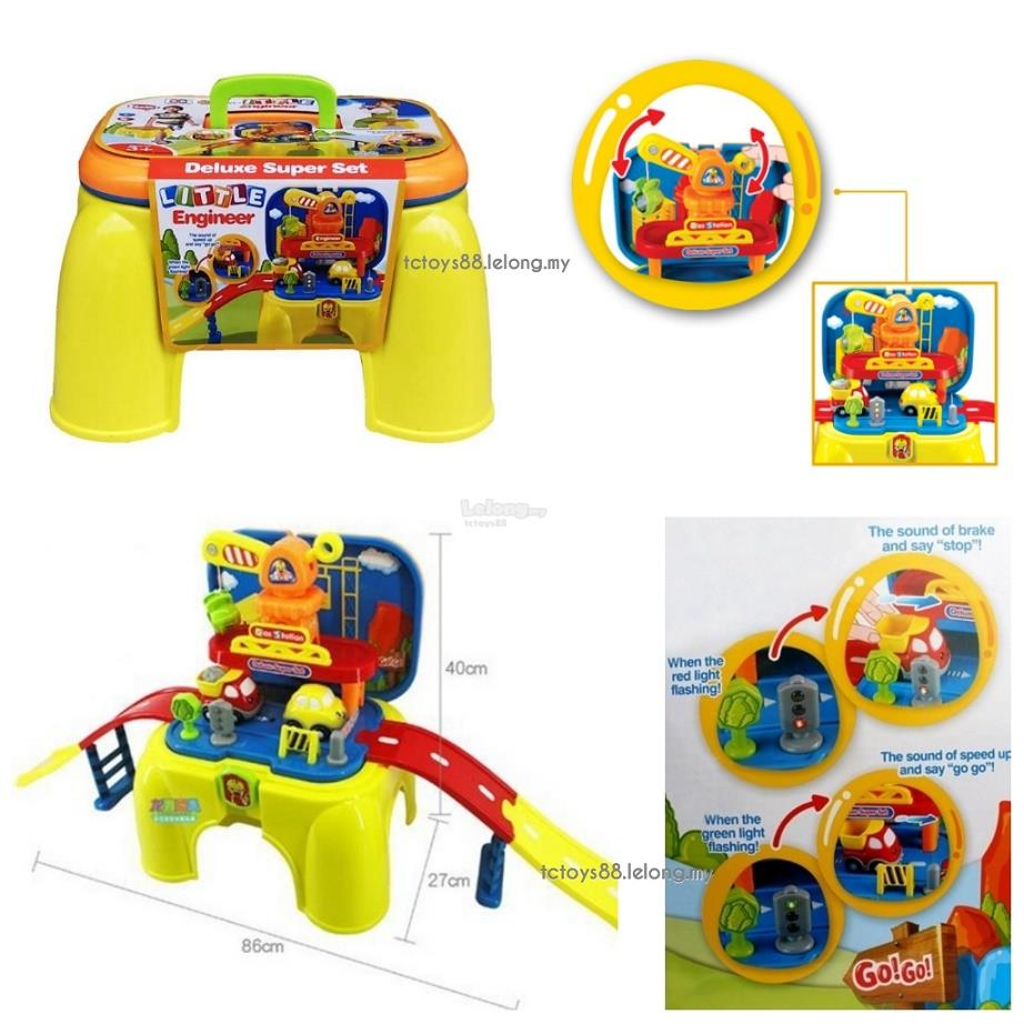 Little Engineer Deluxe Super Play Set Pretend Toys Parking Lot Stool