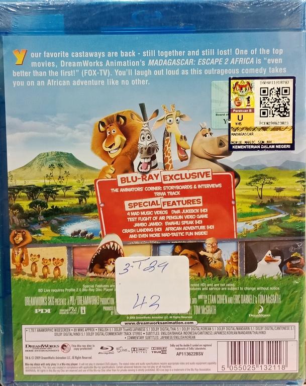 English Movie Madagascar 2 Blu-Ray