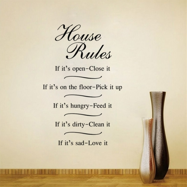 Exceptional English Proverbs House Rules Decorative Living Room Bedroom Wall Stick.