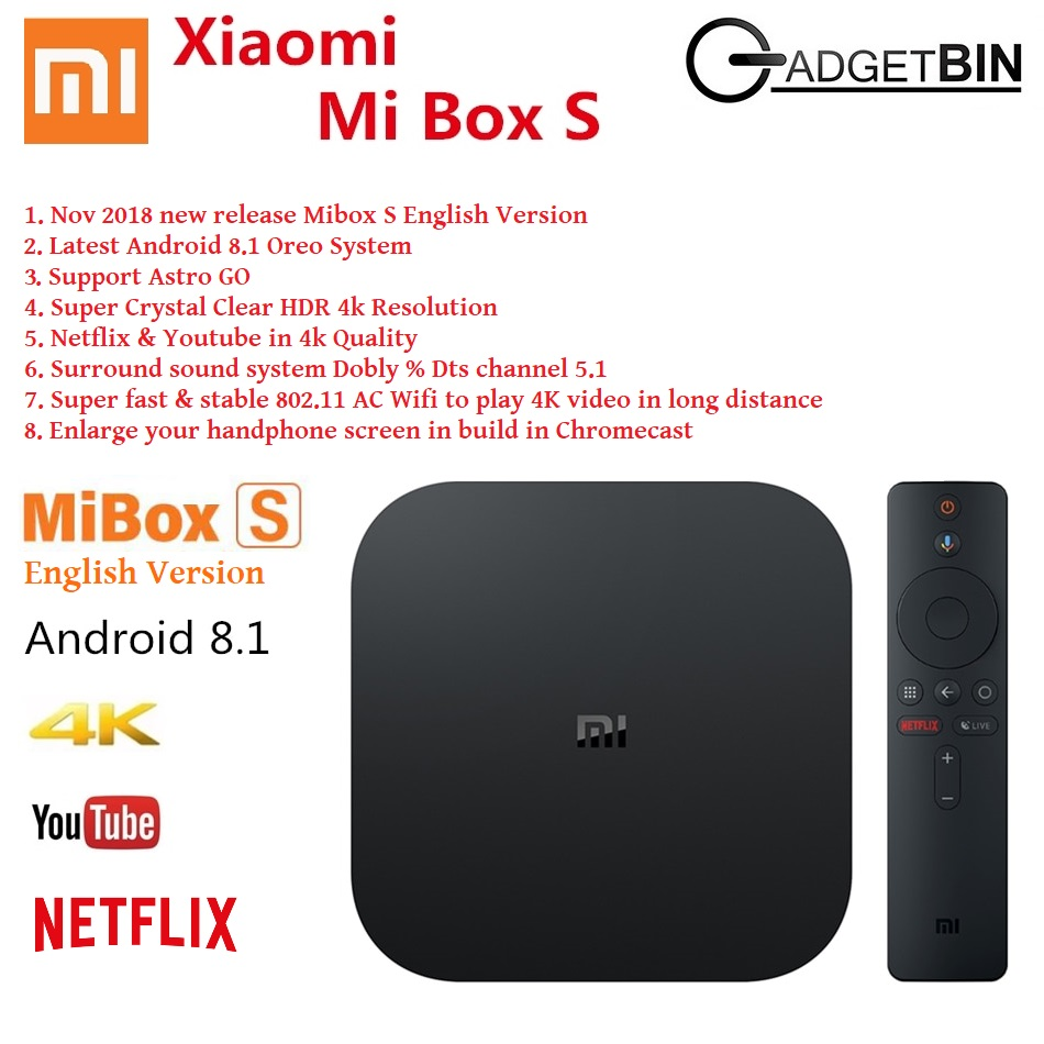 (English UI) Xiaomi MiBox S Smart WIFI Bluetooth 4K HDR Android TvBox