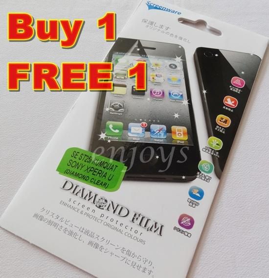 Enjoy 2x DIAMOND Ultra Clear LCD Screen Protector Sony Xperia U /ST25i