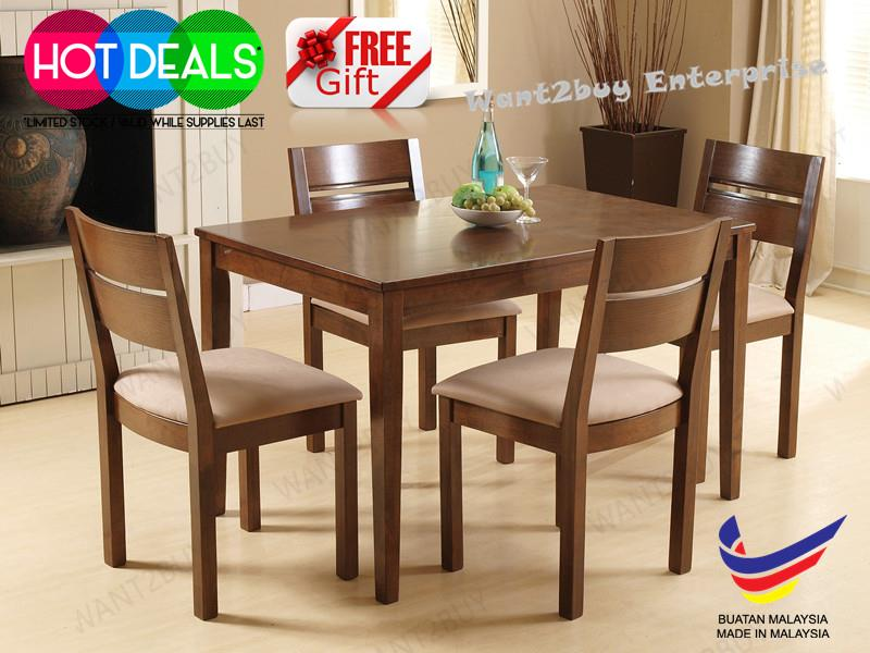 ENVY 4 Cushion Chair 1 Rectangle Solid Wood Dining Set Meja Makan