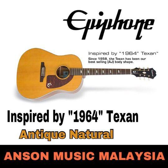 Epiphone Inspired By 1964 Texan Acoustic-Electric Guitar, Antique Natu