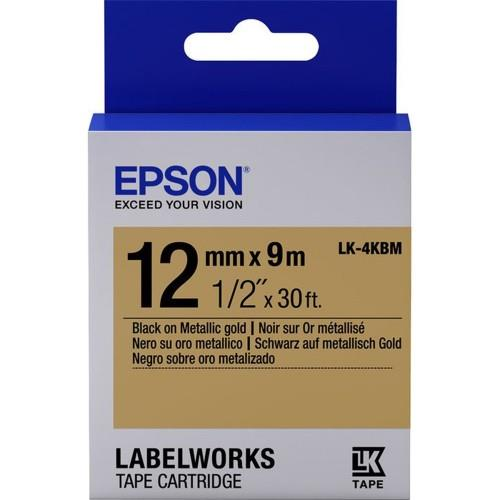 Epson Label Cartridge 12mm Black on Gold Tape Metallic (LK-4KBM)