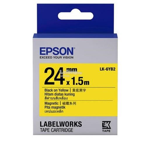Epson Label Cartridge 24mm Black on Yellow Magnetic (LK-6YB2)
