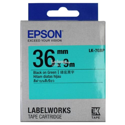 Epson Label Tape 36mm Black on Green (Pastel) (LK-7GBP)