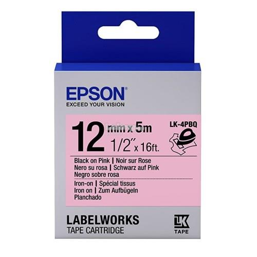 Epson LabelWorks 12mm Black on Pink Tape 5M (LK-4PBQ)