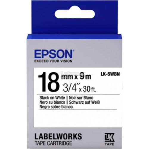 Epson LabelWorks Tape 18mm Black on White Tape 9M (LK-5WBN)
