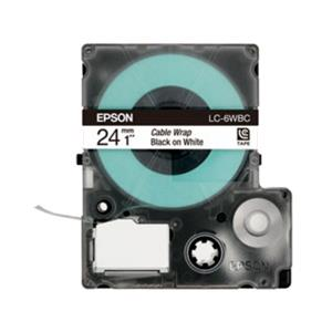 Epson LabelWorks Tape - 24mm Black on 1/3 Wte - 2/3 Clr Tape (LK-6WBC)