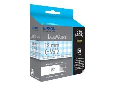 Epson LC-4CAY LabelWorks Tape - 12mm Gray on Blue Check Tape