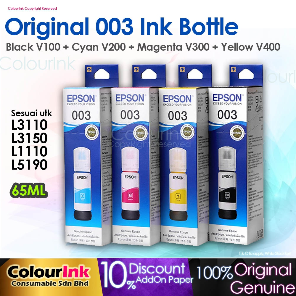 Epson Original 003 (BKCMY) Refill Ink Bottle L1110/L3110/L3150/L5190 V100  V200