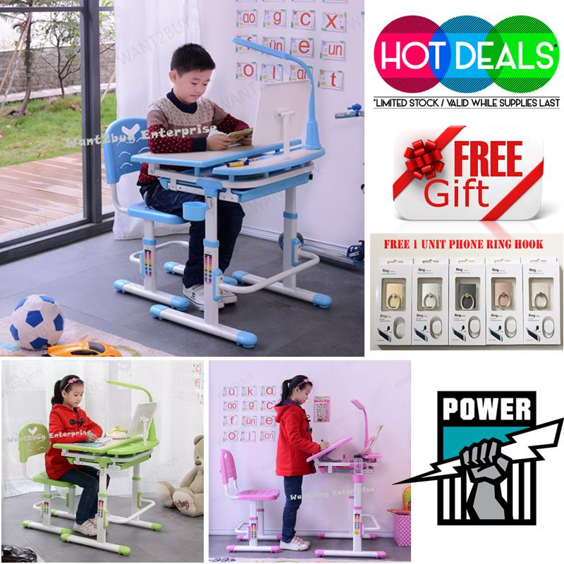 Ergonomic Kids Study Table Chair Set With Led Lamp Children Desk