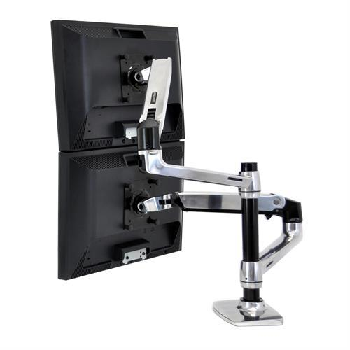 Ergotron LX Dual Monitor Arm, Stacking (polished aluminum) Two-Monitor