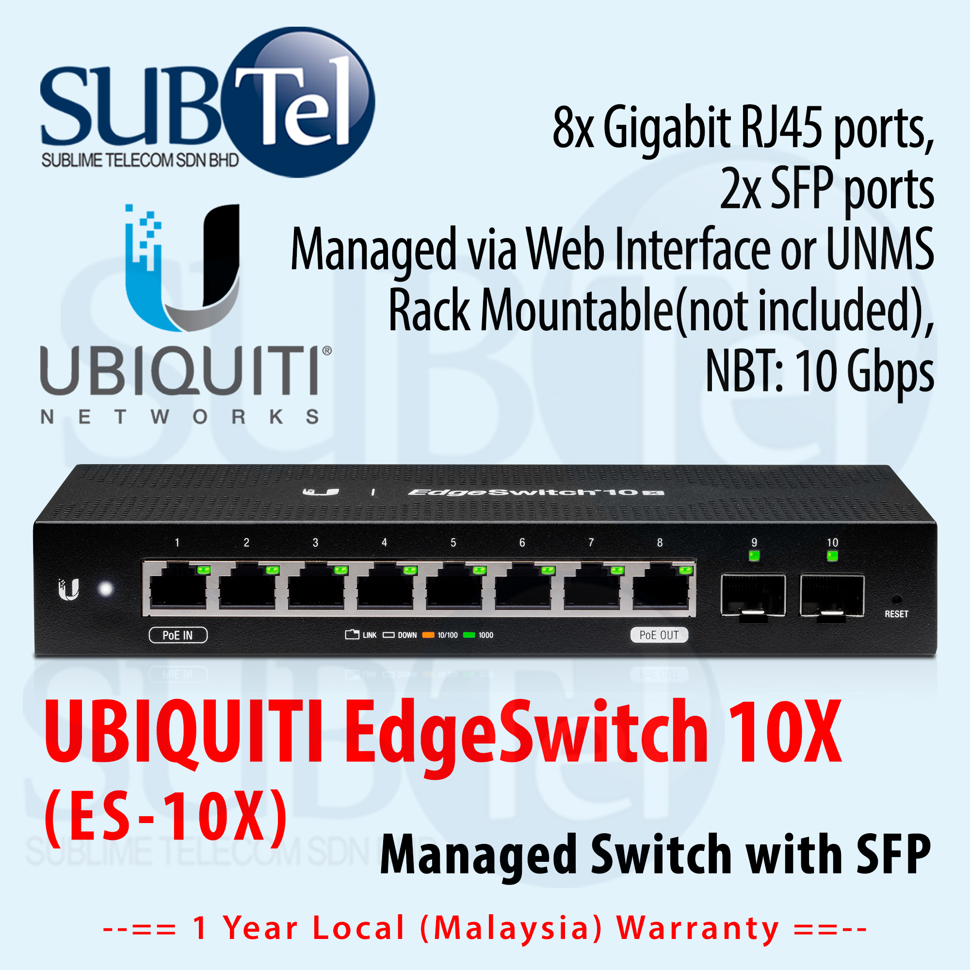2 SFP 24V POE Fully Managed Switch Ubiquiti EdgeSwitch ES-10X Gigabit 8 Ports