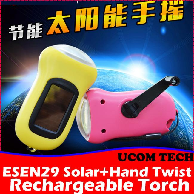 ESEN29 Solar+Hand Twist Rechargeable Torch Light Torchlight