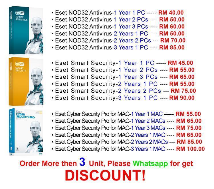 ESET Nod32 antivirus 2017 2YEAR/1PC anti virus Internet Smart Security