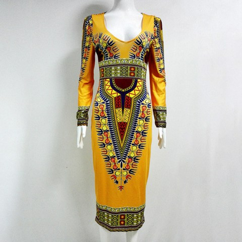 Ethnic Style Classic High-Stretch Printing Bodycon Dress