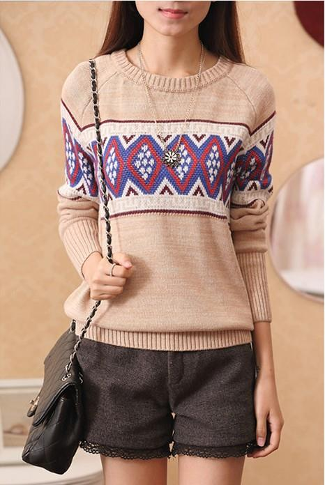 Ethnic Style Long-sleeve Knit Blouse (Beige)