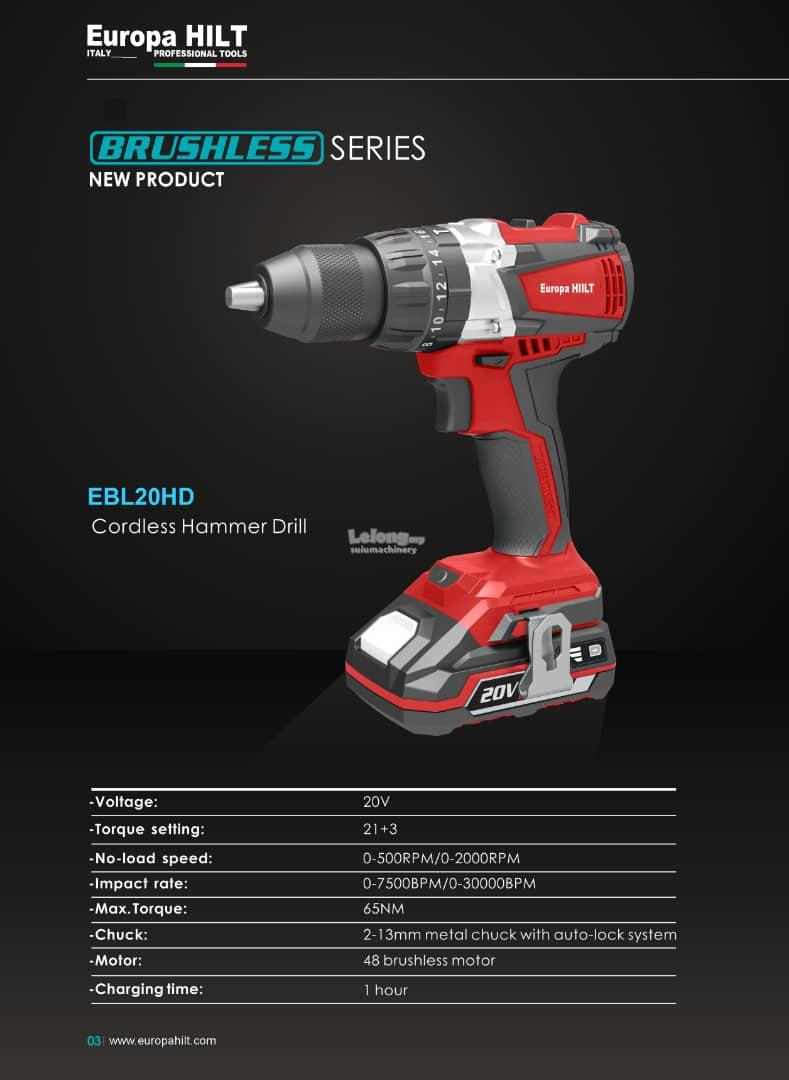 Europa Hilt E20HD Cordless Hammer Drill 60Nm With Starter Kit 4 0