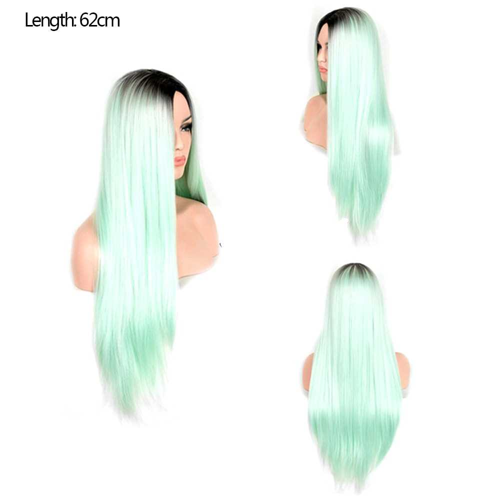 Europe and America Long Straight Hair Green Gradient Middle Parting Fashion Co