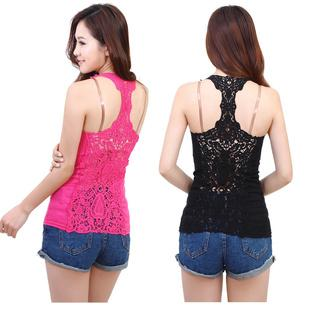 Europe Back Lace Stitching Eye-catching Vests